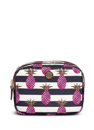 Main View - Click To Enlarge - Tory Burch - 'Kerrington' pineapple print small double cosmetic case