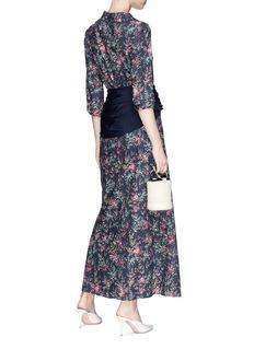 HELLESSY 'Magda' belted asymmetric collar floral print maxi shirt dress