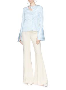 HELLESSY 'Ida' keyhole front slit sleeve stripe satin blouse