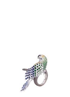 COIN ROBERTO S.R.L. 'Animalier' diamond gemstone 18k white gold parrot ring
