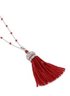 Roberto Coin Diamond coral bead 18k white gold tassel pendant necklace
