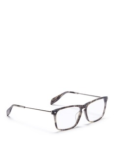 Alexander McQueen Metal temple tortoiseshell acetate square optical glasses