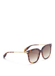 Alexander McQueen Skull hinge metal temple tortoiseshell acetate square sunglasses