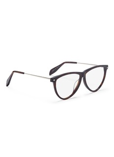 Alexander McQueen Metal temple tortoiseshell acetate round optical glasses