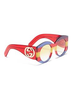 Gucci Web stripe acetate oversized round sunglasses