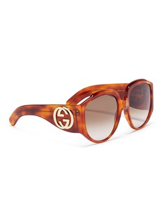 Gucci Interlocking logo temple tortoiseshell acetate round sunglasses