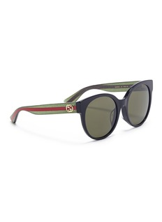 Gucci Glitter web stripe temple acetate round sunglasses