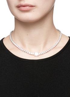 CZ by Kenneth Jay Lane Emerald cut cubic zirconia tennis necklace