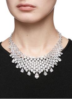 CZ by Kenneth Jay Lane Cubic zirconia mesh bib necklace