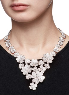 CZ by Kenneth Jay Lane Cubic zirconia floral bib necklace