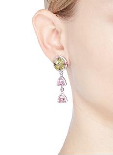 CZ by Kenneth Jay Lane Cubic zirconia clover link drop earrings