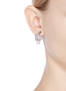 CZ by Kenneth Jay Lane 'Foliate' cubic zirconia freshwater pearl clip earrings