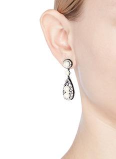 CZ by Kenneth Jay Lane Cubic zirconia glass pearl teardrop earrings