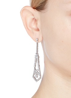 CZ by Kenneth Jay Lane Cubic zirconia cutout geometric drop earrings