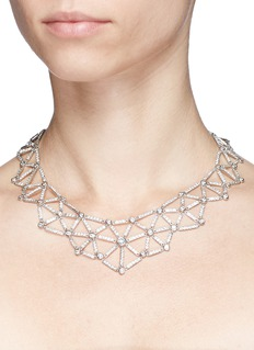 CZ by Kenneth Jay Lane Cubic zirconia spider web necklace