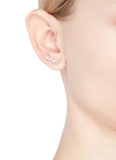 CZ by Kenneth Jay Lane Cubic zirconia freshwater pearl drop earrings