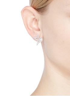 CZ by Kenneth Jay Lane Cubic zirconia freshwater pearl open star stud earrings