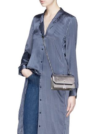 Figure View - Click To Enlarge - Jimmy Choo - 'Selena Gle' metallic leather crossbody bag