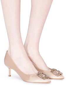Manolo Blahnik 'Hangisi' Swarovski crystal brooch silk satin pumps