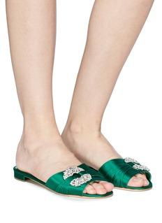 Manolo Blahnik 'Parlina' Swarovski crystal brooch silk satin slide sandals