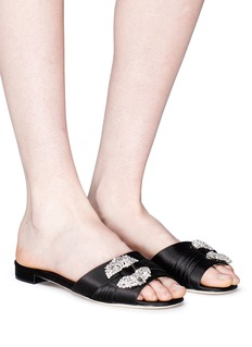 Manolo Blahnik 'Pralina' oversized Swarovski crystal ring satin slide sandals