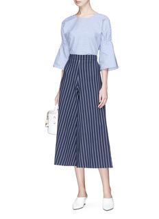 Tibi Shirred sleeve stripe cotton poplin top