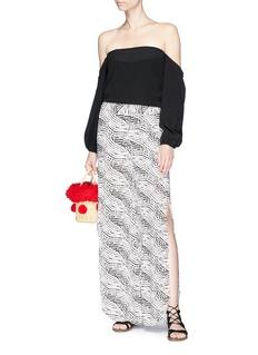 ViX 'Pearl Black Berry' slit cuff wide leg beach pants