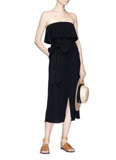 ViX Belted wrap effect strapless midi dress