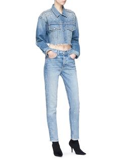GRLFRND 'Karolina' strass stud straight leg jeans