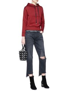 GRLFRND 'Helena' distressed staggered cuff straight leg jeans