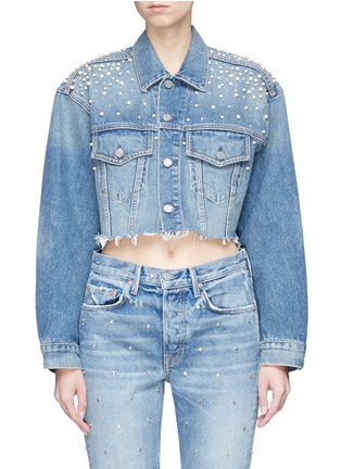 Main View - Click To Enlarge - GRLFRND - 'Eve' embellished cropped cutoff denim jacket