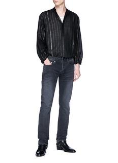 SAINT LAURENT Metallic stripe Mandarin collar shirt