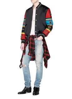 SAINT LAURENT Beaded ethnic sleeve satin bomber jacket