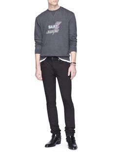 SAINT LAURENT 粗体品牌名称及闪电印花鱼鳞布卫衣