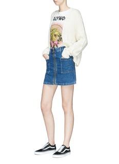 Topshop 'MOTO' zip front denim skirt