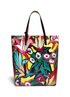 MARNITropical floral canvas tote