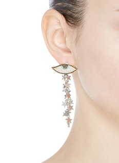 Venna Detachable star fringe evil eye stud earrings