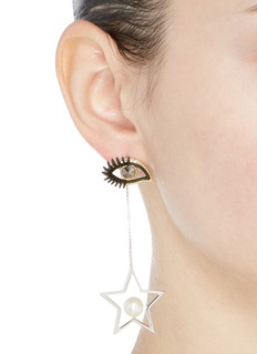 Venna Detachable star drop eye stud earrings