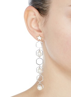 Venna Detachable faux pearl geometric drop star stud earrings