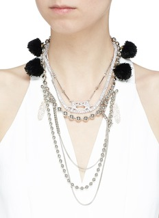 Venna Multi chain pompom necklace