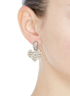 Venna Detachable glass crystal heart drop skull stud earrings