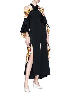 Ellery 'Sly' tie sleeve cross strap crepe maxi dress