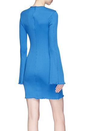 Back View - Click To Enlarge - Ellery - 'Sunshine Kid' flared sleeve rib knit mini dress