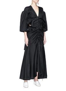 Ellery 'Emma Lou' puff sleeve ruffle cutout maxi dress