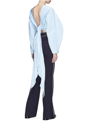 Back View - Click To Enlarge - Ellery - 'Lasso' sash tie balloon sleeve cropped top