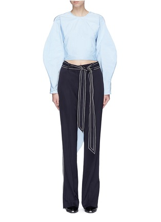 Main View - Click To Enlarge - Ellery - 'Lasso' sash tie balloon sleeve cropped top