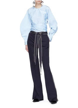 Figure View - Click To Enlarge - Ellery - 'Lasso' sash tie balloon sleeve cropped top