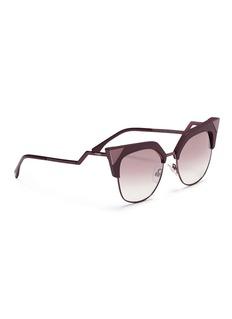 Fendi 'Iridia' optyl brow bar metal cat eye sunglasses