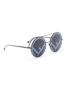 Fendi 'Run Way' oversized logo metal round sunglasses