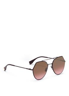 Fendi 'Eyeline' metal angular aviator sunglasses